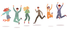 Happy People Jumping In Air - ...