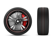 Sport Car Wheel With Red Brake...
