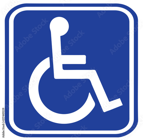 Photo disabled sign on white background