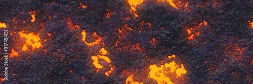 3d illustration. Volcano- background magma. Abstract  terrain Fototapeta