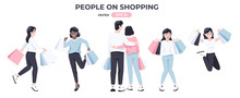 Shopping People Set. Men And W...