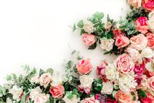 Flower Pattern Made Of Pink, B...