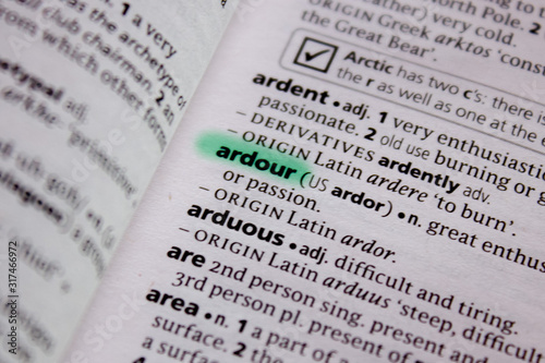 Ardour word or phrase in a dictionary. Canvas Print