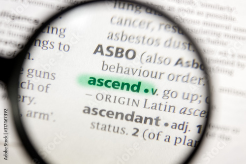 Photo Ascend word or phrase in a dictionary.
