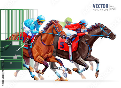Fototapeta Three racing horses competing with each other. Start gates for horse races the traditional prize Derby. Hippodrome. Racetrack. Sport. Vector illustration obraz