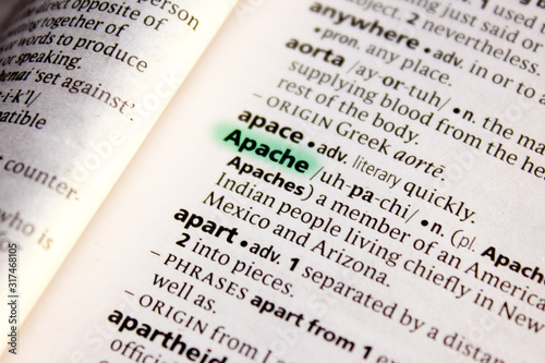 Apache word or phrase in a dictionary. Wallpaper Mural