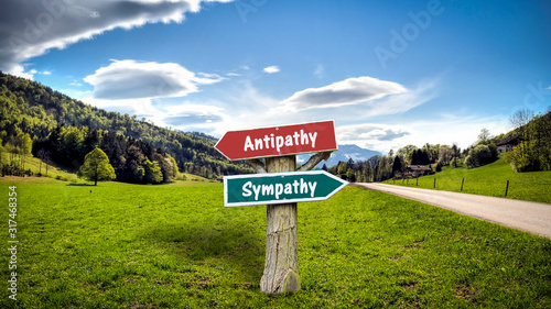 Photo Street Sign to Sympathy versus Antipathy