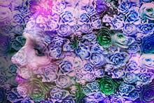 Spring Fairy In Purple Roses