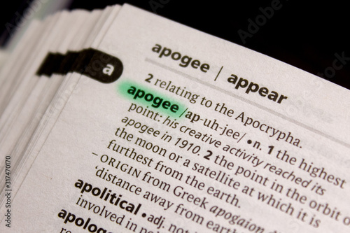 Apogee word or phrase in a dictionary. Canvas Print