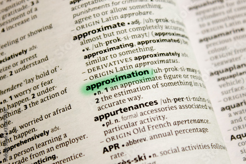 Approximation word or phrase in a dictionary. Canvas Print