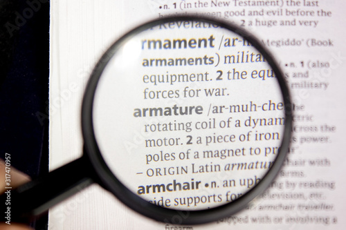 Armature word or phrase in a dictionary. Wallpaper Mural