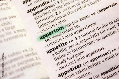 Appertain word or phrase in a dictionary. Wallpaper Mural