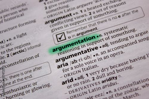 Photo Argumentation word or phrase in a dictionary.