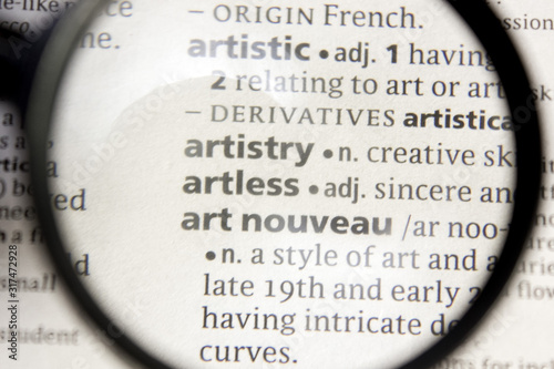 Artistry, artless and art nouveau word or phrase in a dictionary. Canvas Print