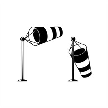 Meteorology Striped Windsock. Wind Speed And Direction Flag. Vector Icon.