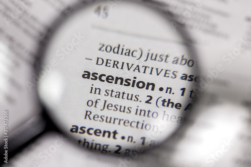 The word or phrase ascension in a dictionary. Canvas Print