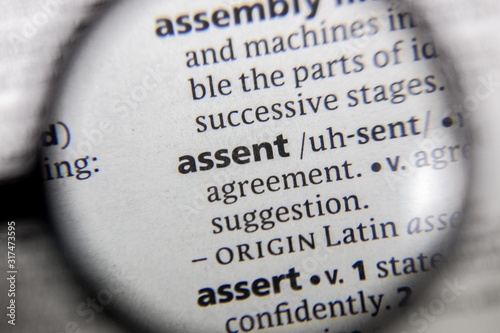 Photo The word or phrase assent in a dictionary.