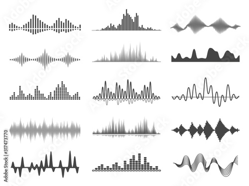Photo Sound waves, volume diagrams glyph vector illustrations set