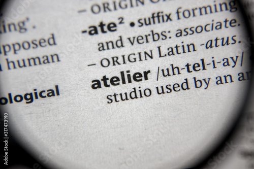 The word or phrase atelier in a dictionary. Canvas Print