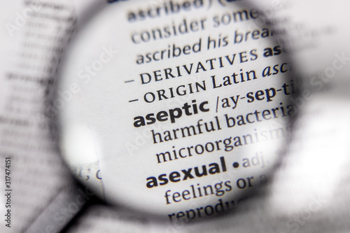 The word or phrase aseptic in a dictionary. Canvas-taulu