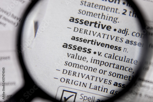 Photo The word or phrase assess in a dictionary.