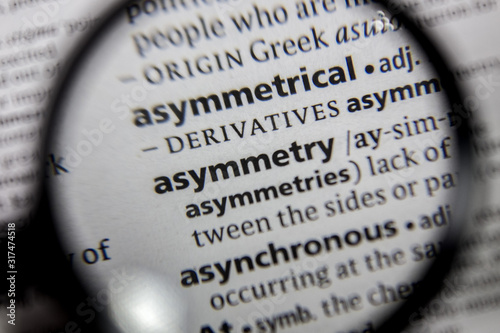 Photo The word or phrase asymmetry in a dictionary.