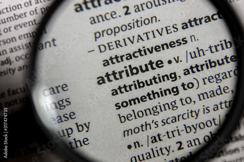 Photo The word or phrase attribute in a dictionary.