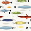 Nordic fish seamless pattern.