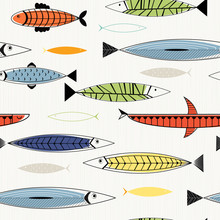 Nordic Fish Seamless Pattern.