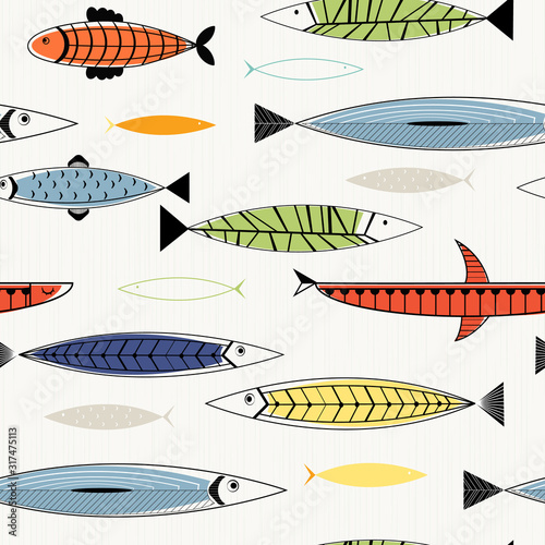 Nordic fish seamless pattern. Tablou Canvas