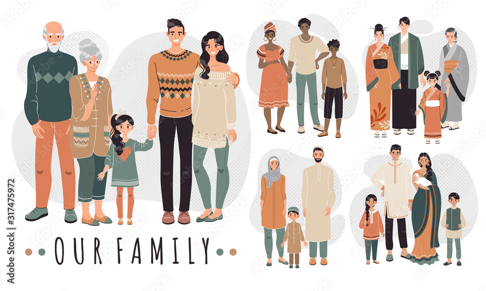 Fototapeta Families from different countries, cartoon characters vector illustration. Happy family together, parents and children. People in traditional clothes of Asian, Arabic, African and Indian culture.