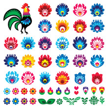 Polish Folk Art Wycinanki Lowickie Vector Design Elements - Flower, Rooster, Leaves. Perfect For Textile Patterns Or Greeting Cards