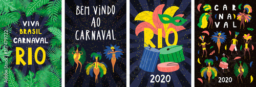 Fotomural Set of posters with dancing people in bright costumes, feathers, Portuguese text Bem vindo ao Carnaval, Welcome to Carnival