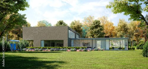 Fotomural Casa de campo moderna con jardin y bosque sorprendente en medio de la naturaleza