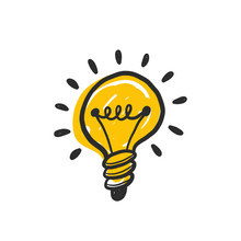 Hand Drawn Vector Light Bulb With Rays Glowing. Grunge Stylized Ideas And Creative Thinking. Doodle Prints For Clothes, Posters, Banner Design Element