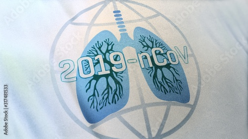 Photo 3D illustration of globe icon merging with human lung and 2019-nCoV scientific name of Wuhan Corona Virus
