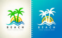 Oasis And Beach Logo Vector. P...