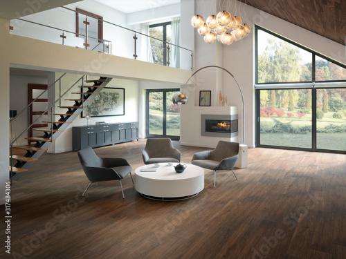 Photo Salón moderno con mobiliario de lujo a doble altura con escalera