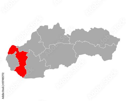 Karte von Trnavsky kraj in Slowakei - fototapety na wymiar