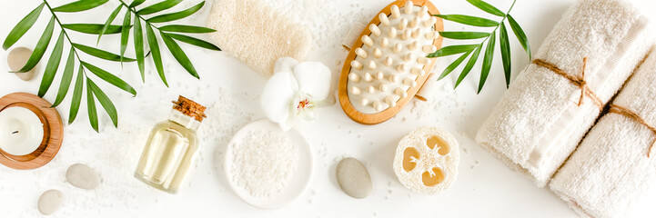 Spa Background. Natural/Organic spa cosmetics products, eco friendly bathroom...