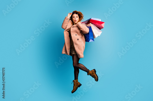 Full body photo of crazy astonished woman look boutique bargain impressed jump s Canvas Print