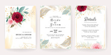 Elegant Wedding Invitation Template Design Of Red And Peach Rose Flowers And Gold Leaves. Botanic Illustration For Save The Date, Event, Cover, Poster. Set Of Cards With Floral Decoration Vector