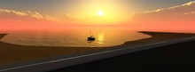 Road At Sunset Near The Sea, P...