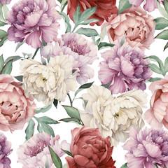 Fototapeta Peonie Seamless floral pattern with peonies, watercolor.