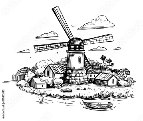 Canvas-taulu Countryside landscape with a mill