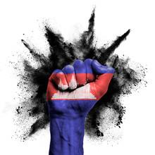 Cambodia Raised Fist With Powd...