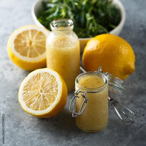 Obraz na plátně Homemade salad lemon dressing