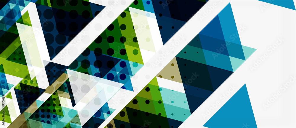 Fototapeta Vector triangle geometric abstract composition background. Retro vector illustration. Ornament illustration