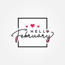 Hello February Vector Design Template Background