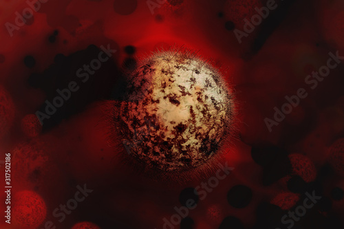 Photo Human Coronaviridae Virus, flu, view of a virus under a microscope, Viral disease outbreak